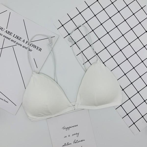 Nylon Strap Shoulder Free Size Summer Bra - White
