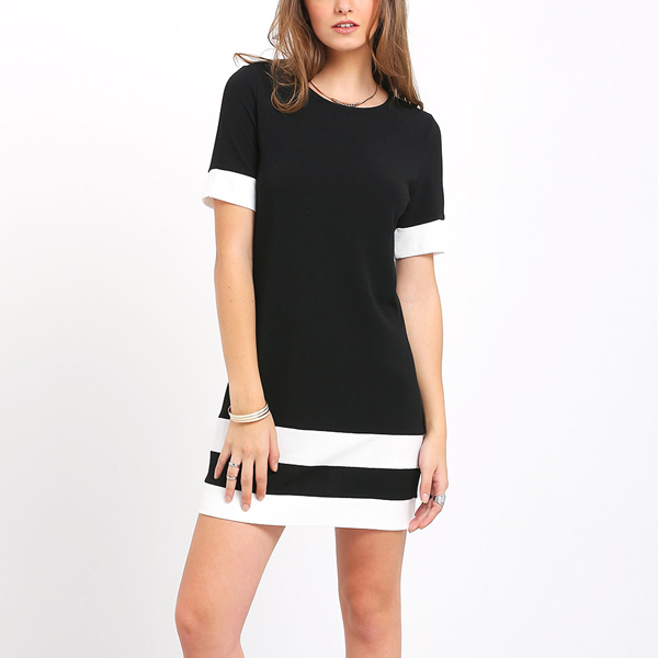 Black And White Color Stripe Short Sleeve Shift Dress
