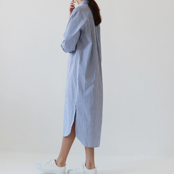 Lining Prints Shirt Collar Waist Knotted Shirt Dress - Blue