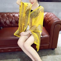 Bohemian Thin Fabric Summer Shawl Cardigan - Yellow