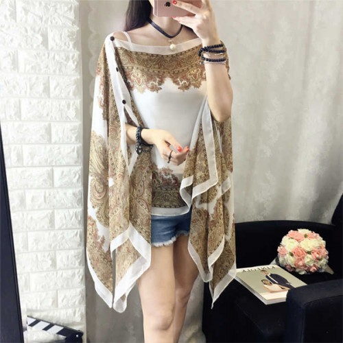 Bohemian Thin Fabric Summer Shawl Cardigan - White