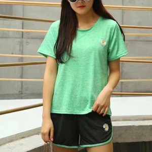 Round Neck Two Pieces Sports Wear T-Shirts With Shorts - Green