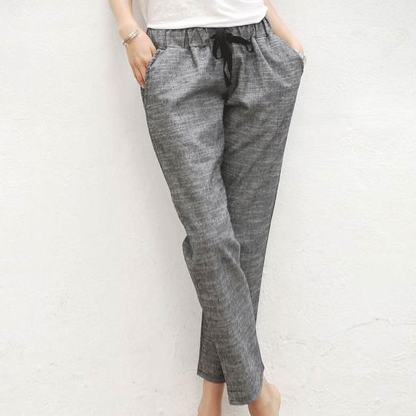 Elastic String Waist Narrow Bottom Trouser - Grey