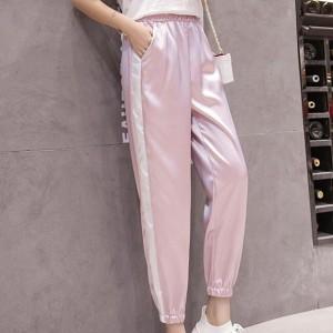 Elastic Waist Shiny Narrow Bottom Trousers - Pink