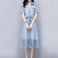 Shirt Collar Belt Waist Midi Dress - Light Blue