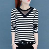 Slim Strips Long Sleeve Pullover V-neck Shirt - White