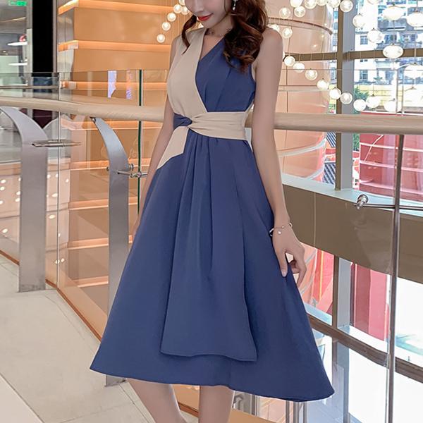Contrast Wrapped V Neck Mini Dress - Blue