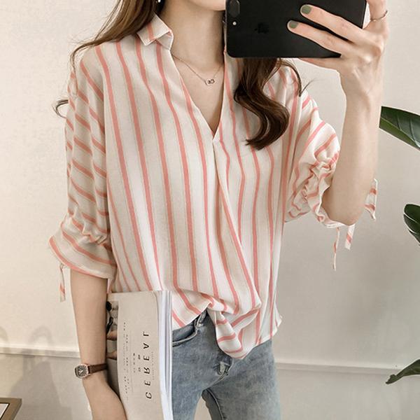 Striped Shirt Collar V Neck Blouse Shirt - Pink