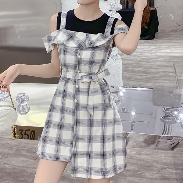 Cap Sleeved Check Prints Summer Mini Dress
