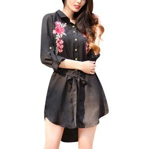 Black Floral Embroidered Long Sleeve Shirt Dress With Belt