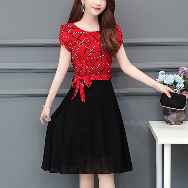 Printed Contrast Cap Sleeves Casual Dress - Red