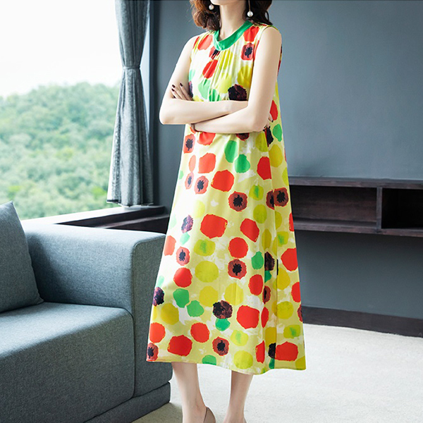 Colorful Pattern Midi Length Party Wear Dress