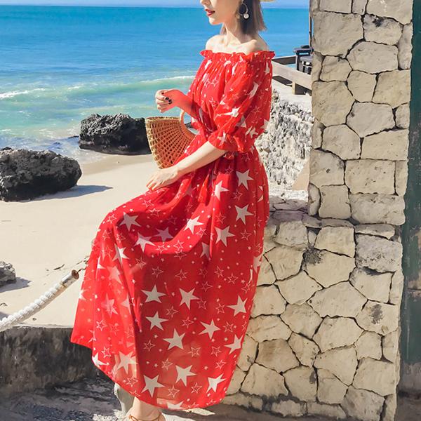 Stars Print Chiffon Beach Wear Summer Dress - Red