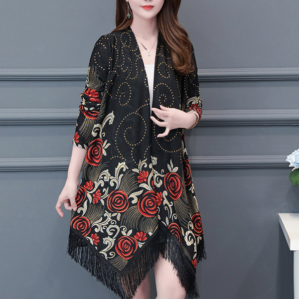 Bohemian Printed Tassel Outwear Cloak Cardigan - Black