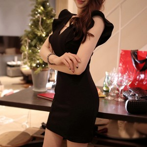 Flared Cap Sleeves V Neck Mini Dress