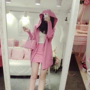 Hoodie Cardigan With Inner Top And Mini Skirt - Pink