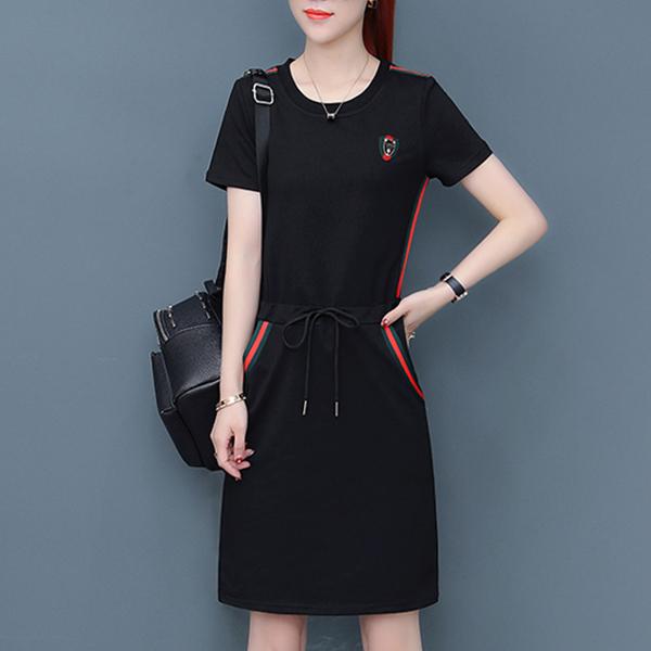 Contrast Stripes Round Neck Solid Mini T-Shirt Dress - Black