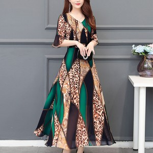 Bohemian Prints V Neck Party Wear Dress - Green