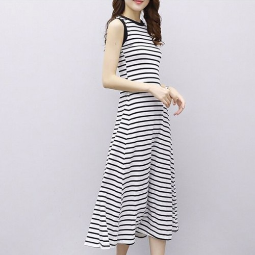 Striped Sleeves Formal Wear Midi Length Dress - White