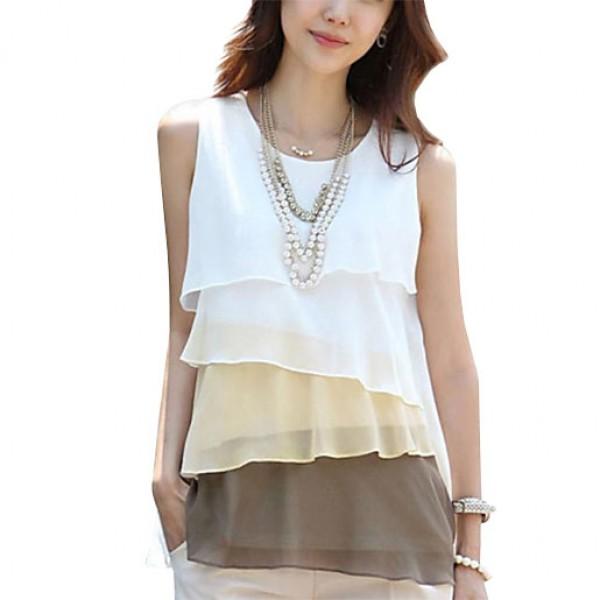 Layered Ruffle Vest Fashion Women Dress Coffee