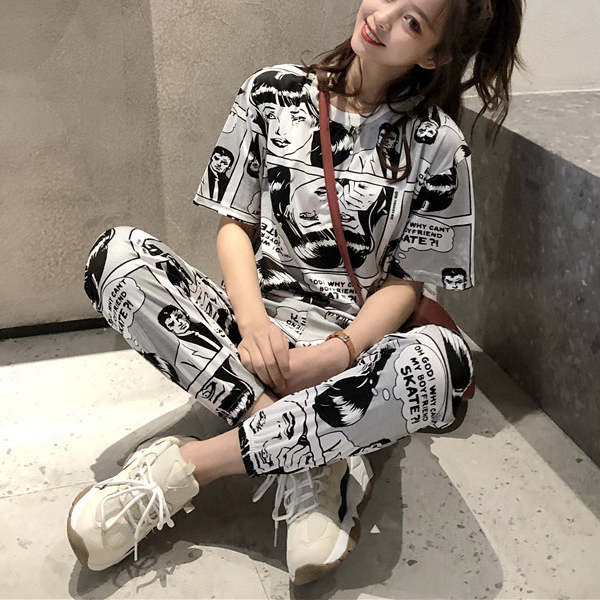 Comic Prints Cartoon Two Pieces Casual Wear Suit
