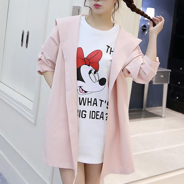 Plain Winter Wear Hoodie Style Cloak - Pink