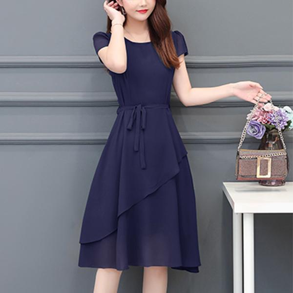 Flared Slash Hem Round Neck Mini Dress - Blue
