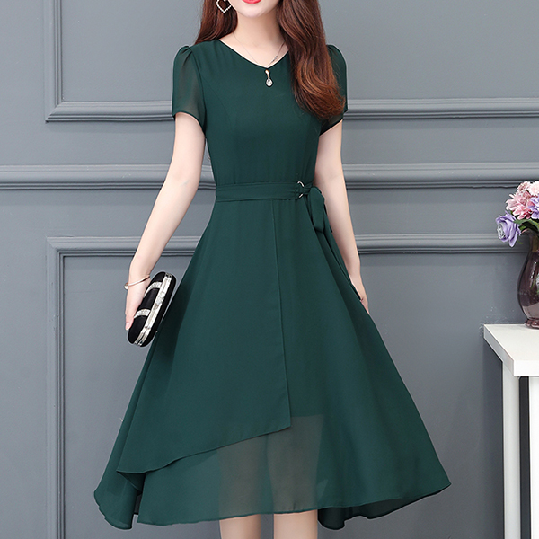 Solid Chiffon Irregular Party Wear Dress - Green