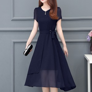 Solid Chiffon Irregular Party Wear Dress - Dark Blue