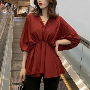 Loose Pleated Summer Wear Solid Color Blouse - Red