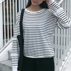 Lace Striped Printed Round Neck Loose T-Shirt