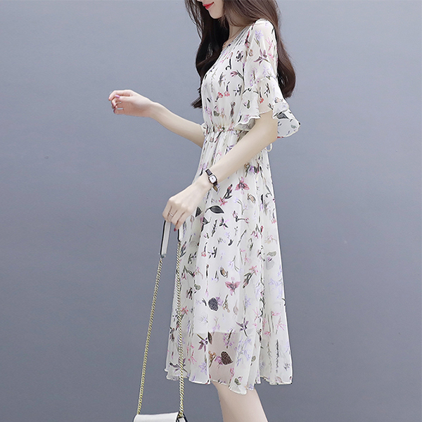 Floral Prints Chiffon Speaker Sleeves Midi Dress