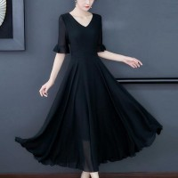 Slim Swing Long-sleeved Chiffon Solid Women Dress - Black