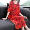 Leaves Printed Round Neck Midi Dress - Red