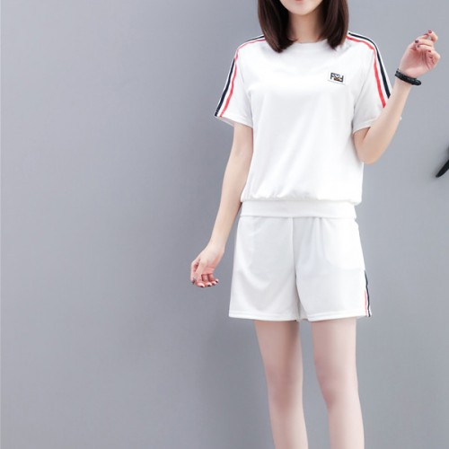 Striped Contrast Two Pieces T-Shirt With Bottom - White