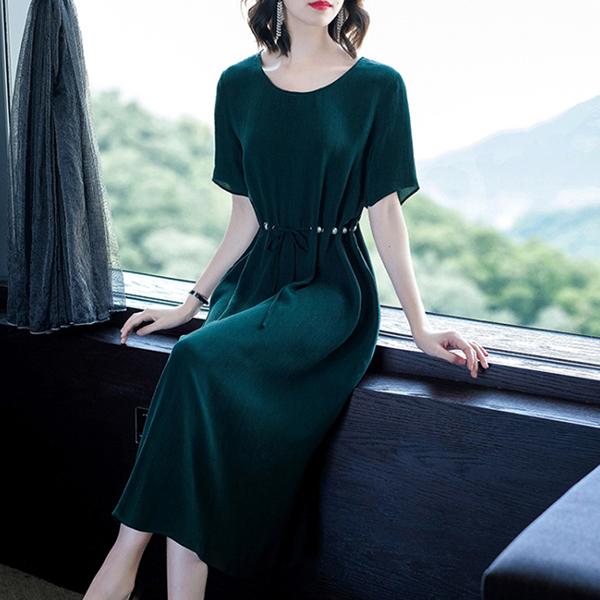 Pearl Decorative Waist Belt Fancy Midi Dress - Green