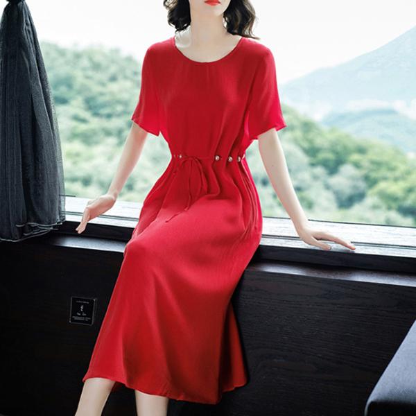 Pearl Decorative Waist Belt Fancy Midi Dress - Red