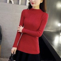 Wavy Neck Ribbed Full Sleeves All Season T-Shirt - Red