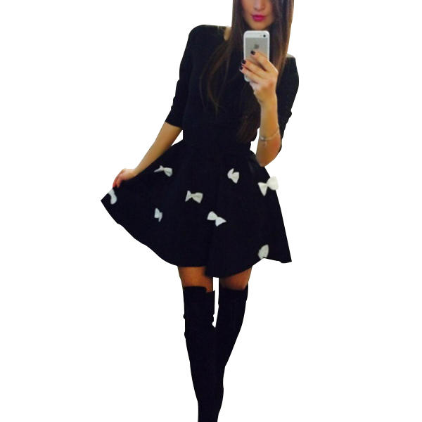 Mini Cocktail Dress Women Party Dress Long Sleeve Skater Black