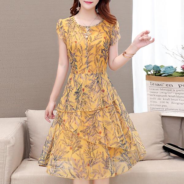 Digital Prints Round Neck Mini Dress - Yellow