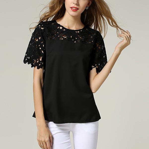 Chiffon Lace Round Neck Female Tops Shirts Blouse - Black