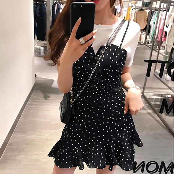 Two Piece Polka Dots Contrast Skirt With Top