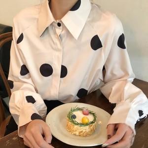 Polka Dots Shirt Collar Full Sleeves Shirt