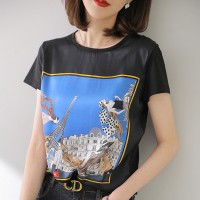 Graphical Prints Round Neck Women Summer Fashion T-Shirt - Black