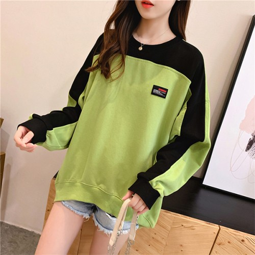 Contrast Round Neck Loose T-Shirt - Green