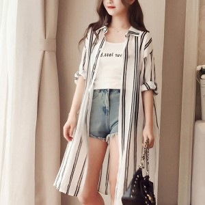 Striped Shirt Collar Long Beach Wear Cardigan - Black And White