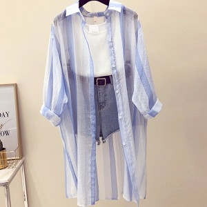 Striped Shirt Collar Long Beach Wear Cardigan - Blue