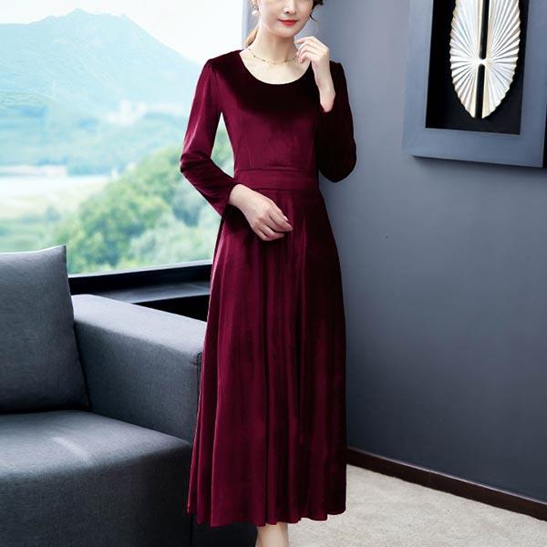 Long-sleeved O-neck High Waist Slim Women Dress - Wine Red