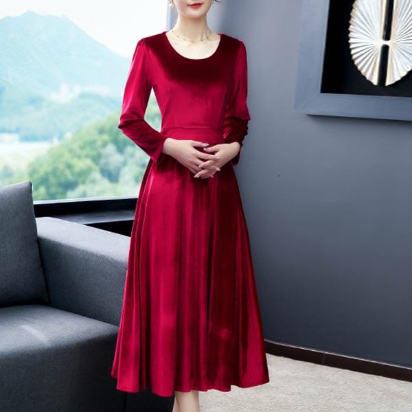 Long-sleeved O-neck High Waist Slim Women Dress - Red