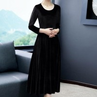 Long-sleeved O-neck High Waist Slim Women Dress - Black